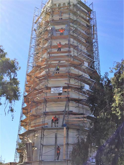 Installation of scaffolding on the existing water tower for lead and asbestos abatement required prior to demolition.