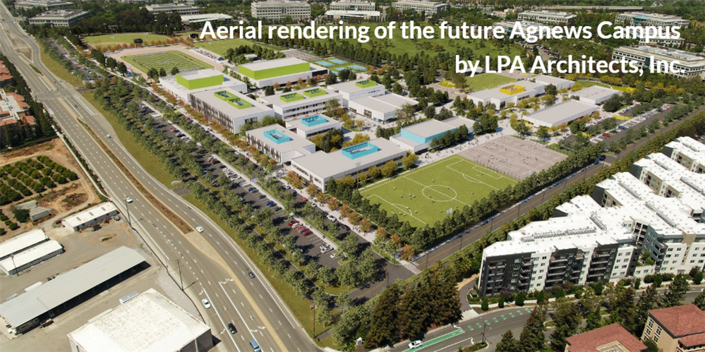 Aerial rendering of the future Agnews Campus by LPA Architects, Inc.