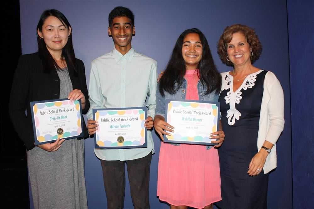 Peterson Middle School honorees and principal Susan Harris